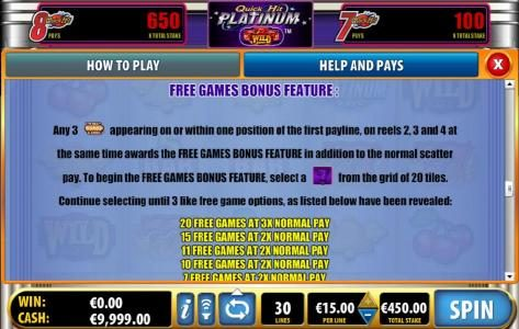 free game bonus feature rules and pays