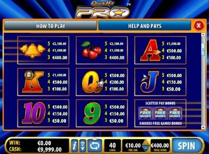 Slot game symbols paytable - continued