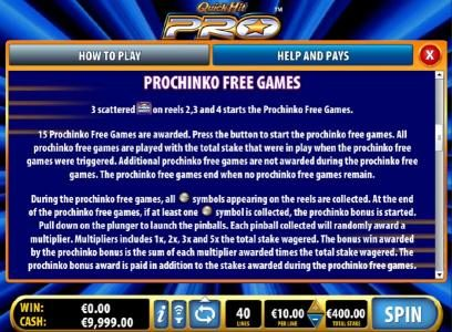 Prochinko Free Games Feature Game Rules