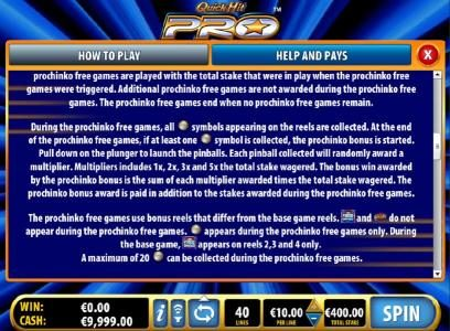Prochinko Free Games Feature Game Rules - continued