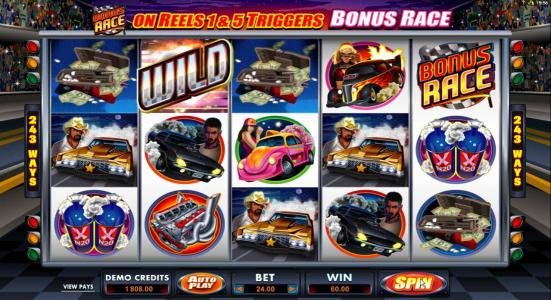 Lucky247 featuring the Video Slots Racing for Pinks with a maximum payout of $15,000