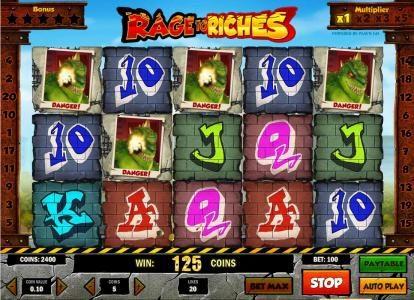 three matching dragon symbols triggers a 125 coin big win