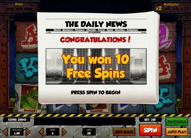 10 free spins awarded.