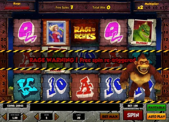 Free spin re-triggered during the free spins feature.