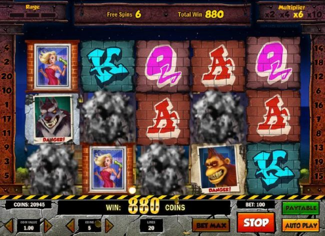 TS featuring the Video Slots Rage to Riches with a maximum payout of $50,000