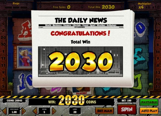 The free spins feature pays out a total of 2,030 coins for a big win.