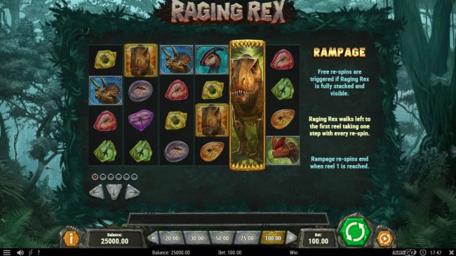 Neder featuring the Video Slots Raging Rex with a maximum payout of $500,000