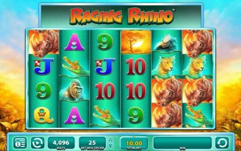 Wicked Jackpots featuring the Video Slots Raging Rhino with a maximum payout of $250,000