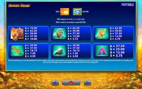 Zinger Spins featuring the Video Slots Raging Rhino with a maximum payout of $250,000