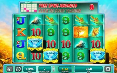 Three feature symbols triggers 8 free spins