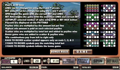 Ocean Bets featuring the video-Slots Rags to Riches with a maximum payout of Jackpot