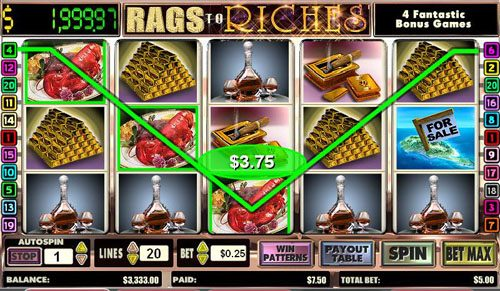 Casinia featuring the video-Slots Rags to Riches with a maximum payout of Jackpot