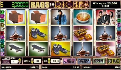 VIP Casino featuring the video-Slots Rags to Riches with a maximum payout of Jackpot