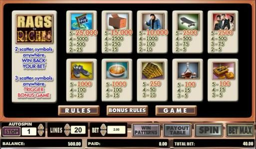 Lucky Bets featuring the Video Slots Rags to Riches 20 line with a maximum payout of $500,000