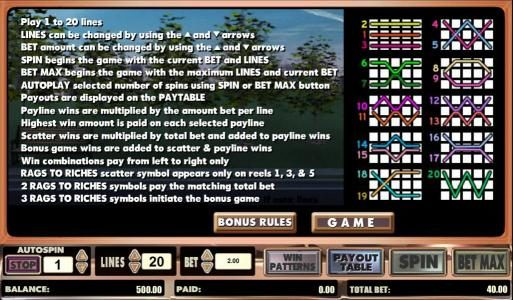 ZigZag777 featuring the Video Slots Rags to Riches 20 line with a maximum payout of $500,000