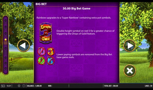 Play slots at Simba Games: Simba Games featuring the Video Slots Rainbow Riches Drops of Gold with a maximum payout of $250,000