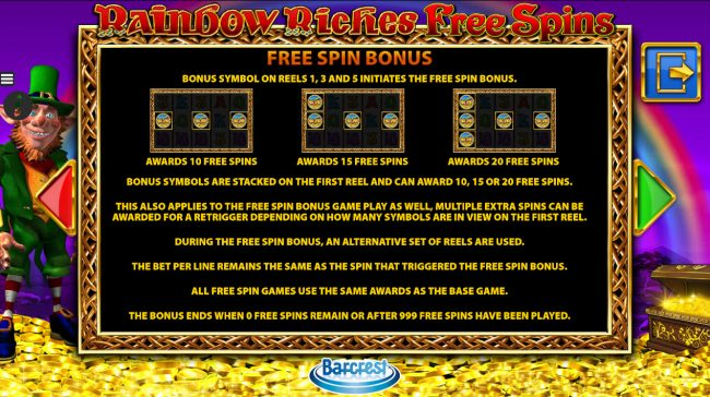 Yako Casino featuring the Video Slots Rainbow Riches Free Spins with a maximum payout of $250.000