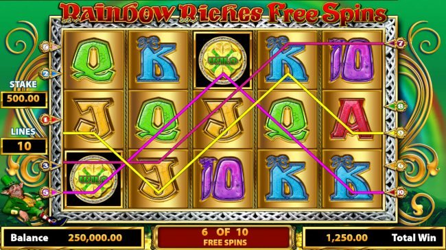 Karl Casino featuring the Video Slots Rainbow Riches Free Spins with a maximum payout of $250.000
