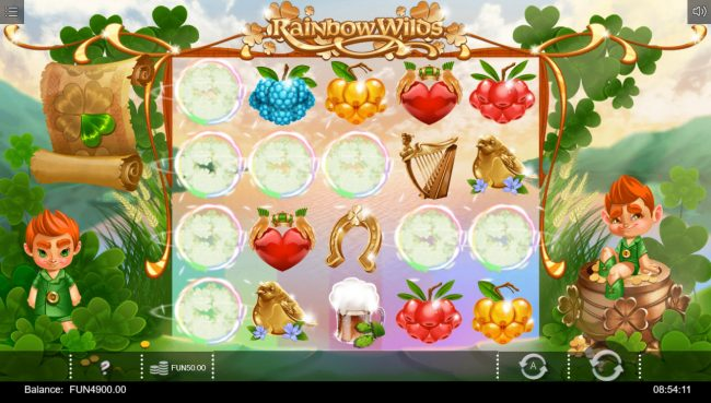 Rainbow Wilds :: Winning symbols are removed from the reels