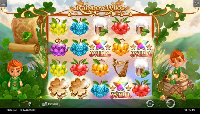 Rainbow Wilds :: Multiple winning paylines triggers a big win
