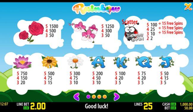 Rainbow :: Paytable