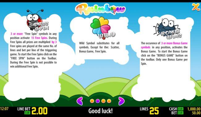 Rainbow :: Bonus, Wild and Scatter Rules