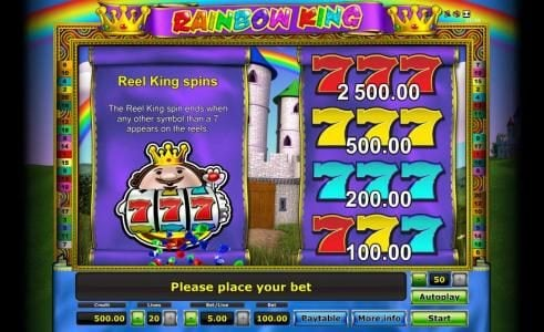 reel king spins paytable and rules