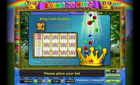 King Cash Feature rules