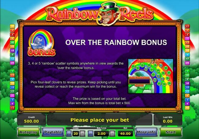3, 4 or 5 Raindow scatter symbols anywhere in view awards the Over the Rainbow Bonus.