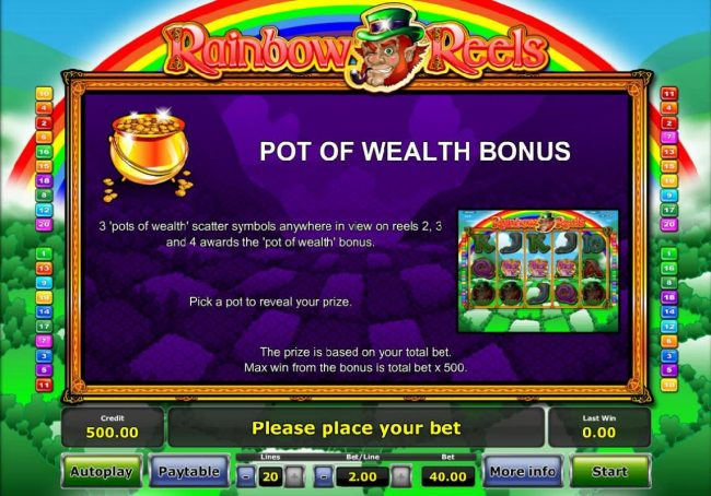 3 Pots of Wealth scatter symbols anywhere in view on reels 2, 3 and 4 awards the Pot of Wealth Bonus