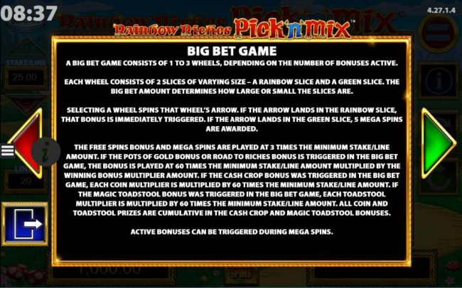 Vera&John featuring the Video Slots Rainbow Riches Pick n Mix with a maximum payout of $250,000
