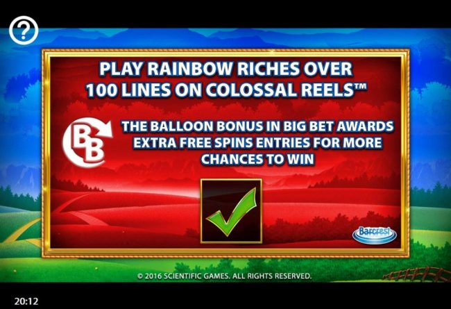 Vegas Spins featuring the Video Slots Rainbow Riches Reels of Gold with a maximum payout of $250,000