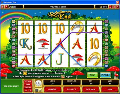 Golden Reef featuring the Video Slots Rainbows End with a maximum payout of $25,000