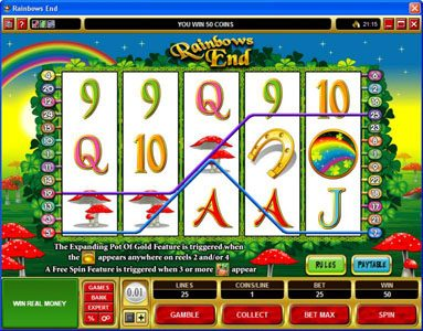 Yeti Casino featuring the Video Slots Rainbows End with a maximum payout of $25,000