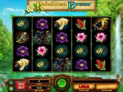 Vera&John featuring the Video Slots Rainforest Dream with a maximum payout of $200,000
