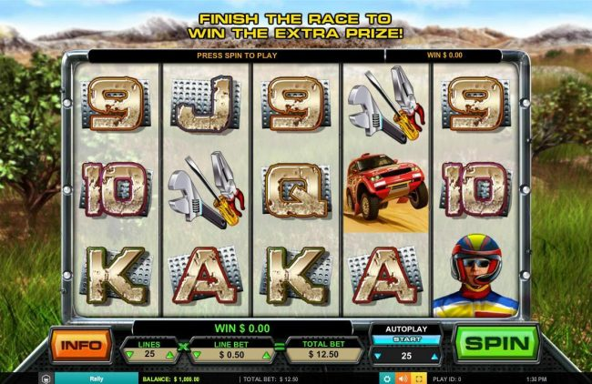 Play slots at Norskespill: Norskespill featuring the Video Slots Rally with a maximum payout of $62,500