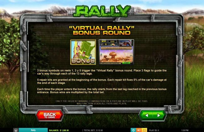 Yako Casino featuring the Video Slots Rally with a maximum payout of $62,500