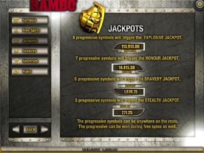 Wild Jackpots featuring the Video Slots Rambo with a maximum payout of Jackpot