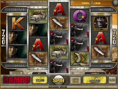 Play slots at Casdep: Casdep featuring the Video Slots Rambo with a maximum payout of Jackpot