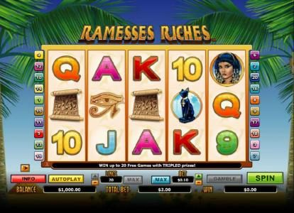 Play slots at Crystal: Crystal featuring the Video Slots Ramesses Riches with a maximum payout of $10,000