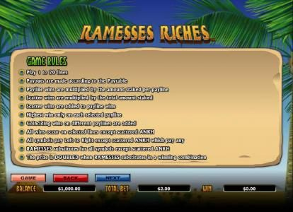 TS featuring the Video Slots Ramesses Riches with a maximum payout of $10,000