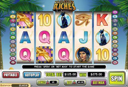 Play slots at Liberty Slots: Liberty Slots featuring the Video Slots Ramesses Riches with a maximum payout of $50,000