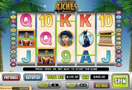 Miami Club featuring the Video Slots Ramesses Riches with a maximum payout of $50,000