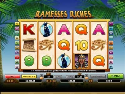 Dreamy 7 featuring the Video Slots Ramesses Riches with a maximum payout of $10,000