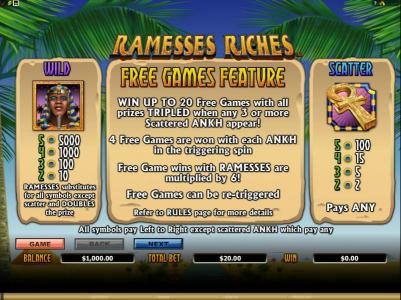wild and scatter paytable. free games feature rules
