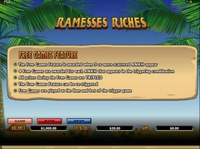 Casino France Net featuring the Video Slots Ramesses Riches with a maximum payout of $10,000