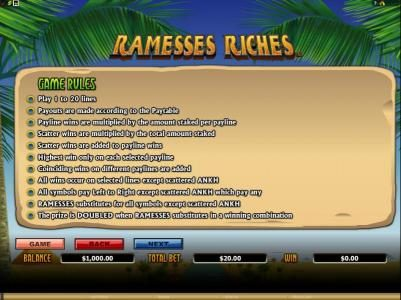 Betway featuring the Video Slots Ramesses Riches with a maximum payout of $10,000