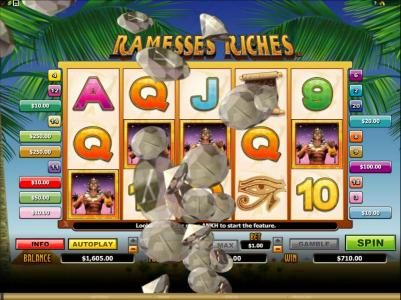 Play slots at River Belle: River Belle featuring the Video Slots Ramesses Riches with a maximum payout of $10,000