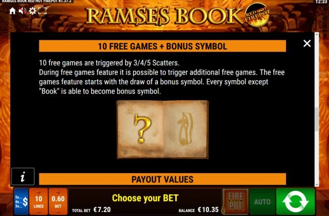 Winstar featuring the Video Slots Ramses Book Red Hot Firepot with a maximum payout of Jackpot
