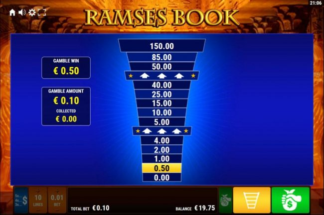 Winstar featuring the Video Slots Ramses Book with a maximum payout of $3,000